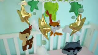 Baby crib mobile forest woodland