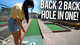 CRAZY DOUBLE HOLE IN ONE AT ONE OF THE HARDEST MINI GOLF COURSES EVER!