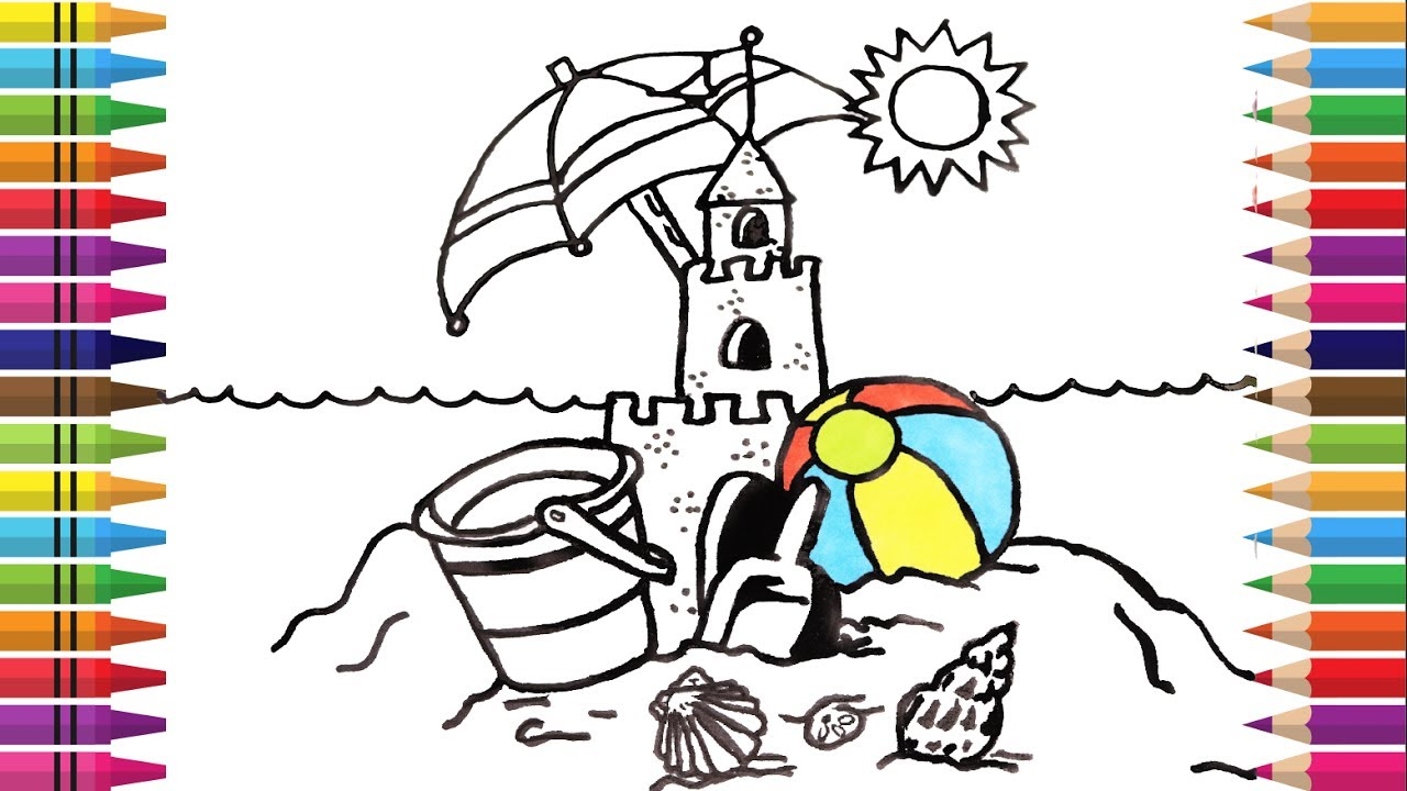how to draw sand castle coloring beach summer for kids videos