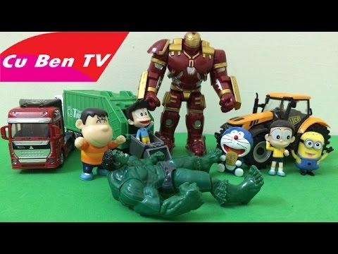 Người Sắt đánh người khổng lồ xanh cứu Doraemon, Nobita và các bạn ► Cu Ben TV