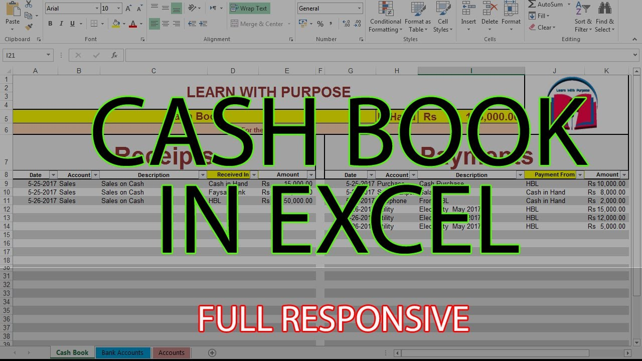 How To Create Cash Book Management System In Excel Urduhindi