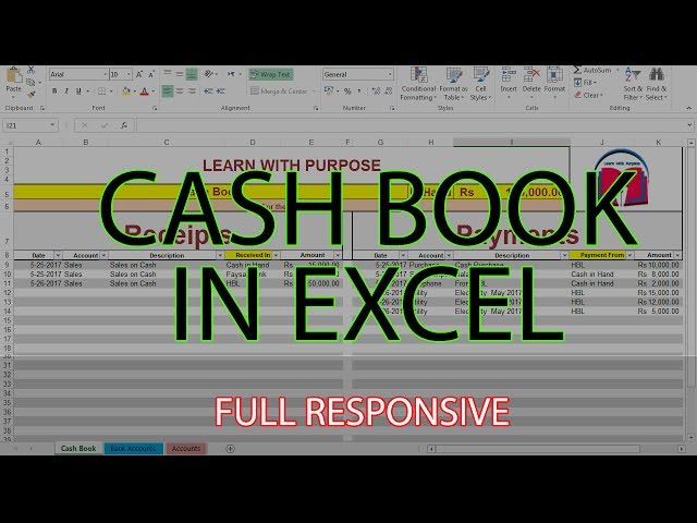 How to Create Cash Book Management System in Excel. URDU  HINDI