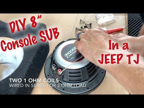 "Jeep TJ Gets An 8"" Console Subwoofer"