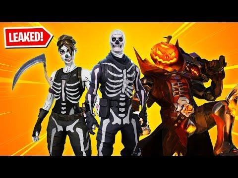 All 13 New HALLOWEEN SKINS in Fortnite! (Skull Trooper, Skull Ranger, Evil Pumpkin & more)