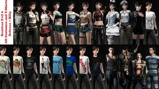 Resident Evil Zero 0 - All 14 Costumes (Rebecca + Billy), and 9 T-shirts (Rebecca)