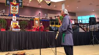 HH Sakya Trichen Rinpoche Cultural Exchange Santa Fe Indian School - Flute Music Gendun Sakya