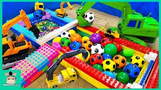Dump Truck Transport Balls To Pool Toys for Kids | Excavator Loader Car Videos | MariAndToys