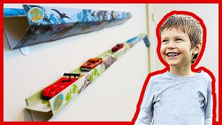 Hot Wheels Cars Racing on Paper Trax