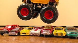 Video for Kids - Toy Cars & Monster Trucks Jumping Over Each Other