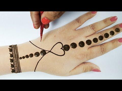 आसान करवाचौथ,नवरात्री मेहँदी डिज़ाइन - सरल गोल टिक्की मेहँदी लगाना सीखे - New GolTikki Mehndi Design