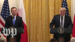 Trump holds news conference with Polish president