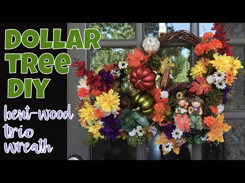 Dollar Tree DIY Happy Harvest Fall Wreath Trio - Triple Bent Wood Wreath!