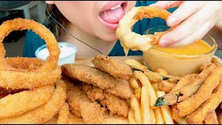 MOST POPULAR Fried Food FOR ASMR (ONION RINGS, CHICKEN NUGGETS, CHEESE DIP) No Talking suellASMR