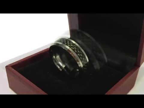 King Will 8mm Black Carbon Fiber Inlay Men's Tungsten Carbide Ring