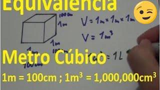 Metro cúbico Equivalencia - (conversión m3 a cm3) - Equivalencia metro cubico