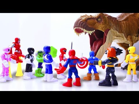 Toys Play Time MEGA GIANT T-rex Attack Avengers x Power Rangers Toy Story Short Movie For Kids 2018