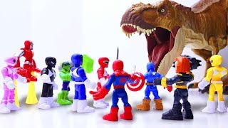 Toys Play Time MEGA GIANT T-rex Attack Avengers x Power Rangers Toy...