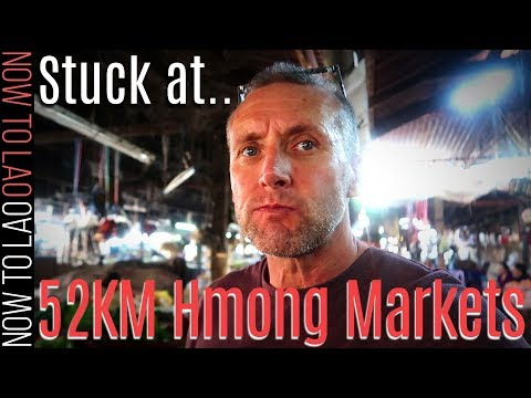 Travel Laos | Driving from Vientiane to Vang Vieng we get stuck at  52km Hmong Markets | Now to Lao