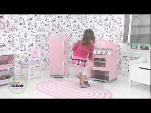 KidKraft Pink Retro Kitchen And Refrigerator YouTube - Kidkraft pink retro kitchen and refrigerator 53160