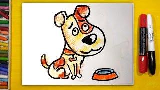Как нарисовать СОБАКУ, Урок рисования для детей от 3 лет | Раскраска для детей(Я люблю разных животных и птиц. Сегодня рисуем для детей маленького щенка.