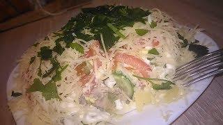 Вкусный салат в качестве основного блюда НА УЖИН с ОДНИМ слоем майонеза)