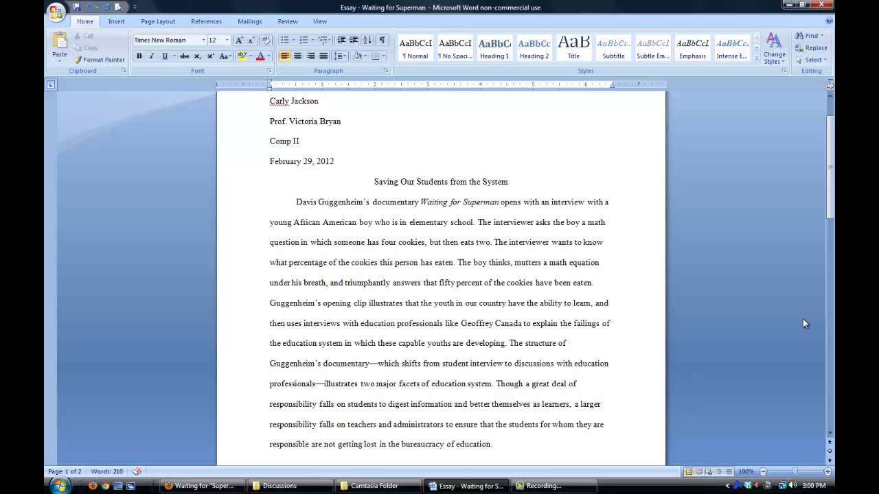 How do you write a quote from a movie in an essay