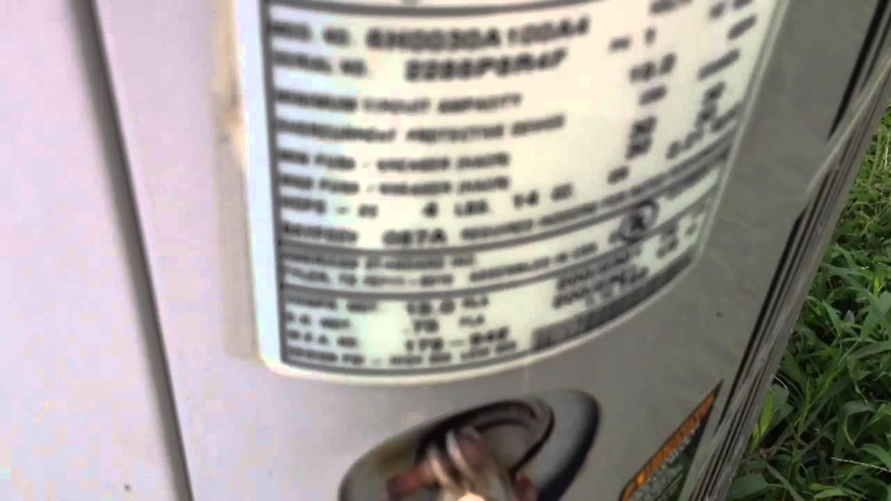 2002 American Standard Heritage 10 Heat Pump - 8/20/14