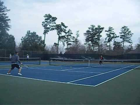 Yuri Shor Sr vs Jr. Playing tennis 02.15.2015 Newtown Park Johns Creek GA 27F, -2C