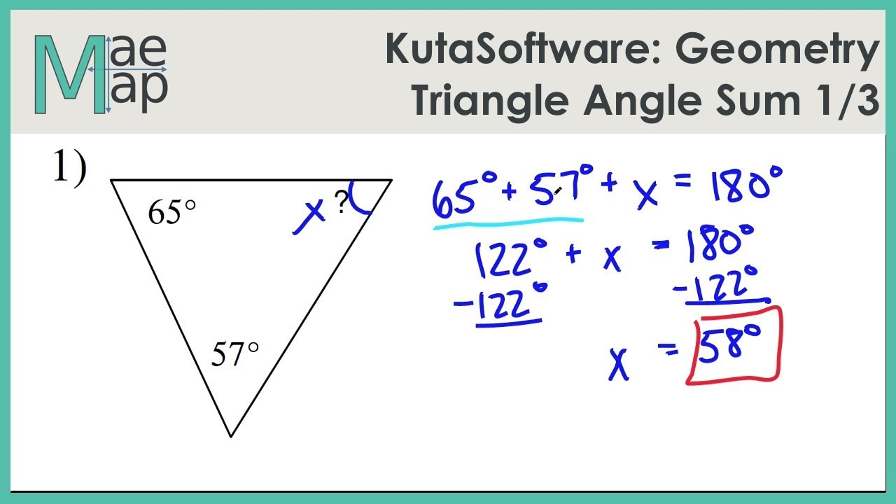 Kuta Geometry Triangle Angle Sum Part 1