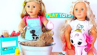 Baby Doll Pet Shop Spa salon - Playing AG dolls puppy pets spa & grooming toys, bath time, hair cut