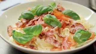Pasta med fløtesaus og bacon
