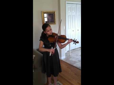 Alexandra Jorgensen at home on the violin