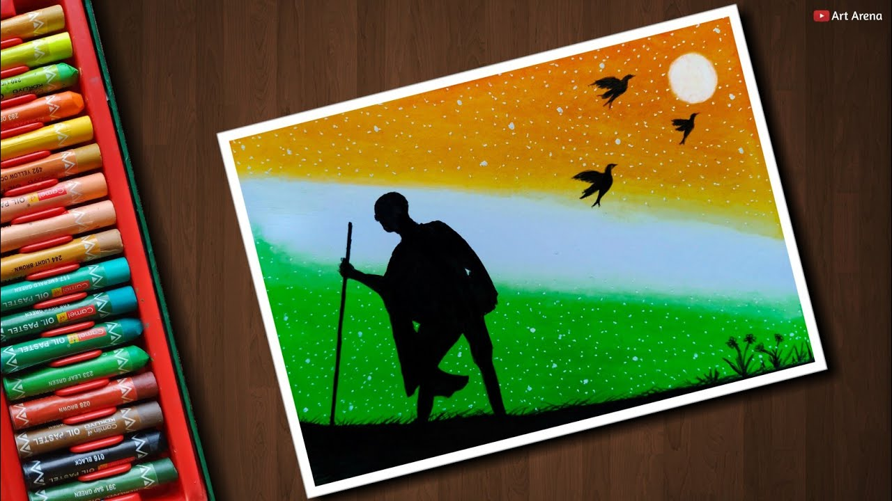 Independence day drawing for beginners with oil pastels step by step