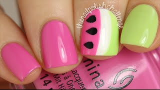 Watermelon Nail Art Using French Manicure Guides || The Nail Polish Challenge