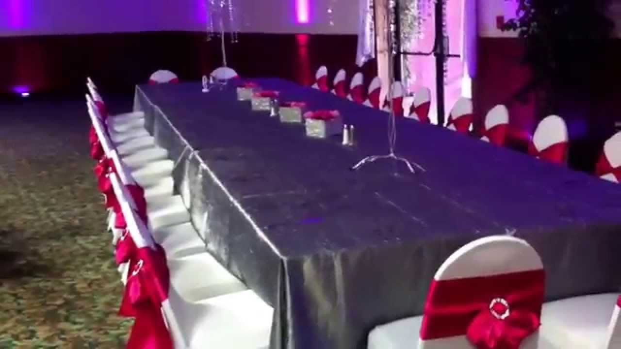 Fuschia Silver White Wedding At Belarussian Party Center Design Linens U0026  Centerpieces By E4ME   YouTube