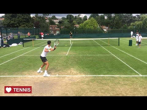 Novak Djokovic Training at Wimbledon 2017 - Court Level View