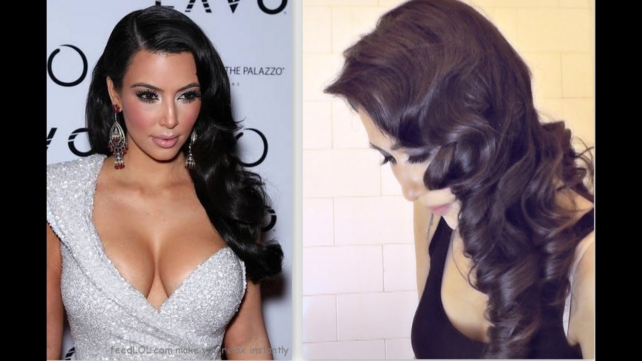 ★KIM KARDASHIAN HAIR TUTORIAL:  CURLY VINTAGE HAIRSTYLES |HOW TO CURL YOUR HAIR FOR MEDIUM LONG HAIR  #Trend