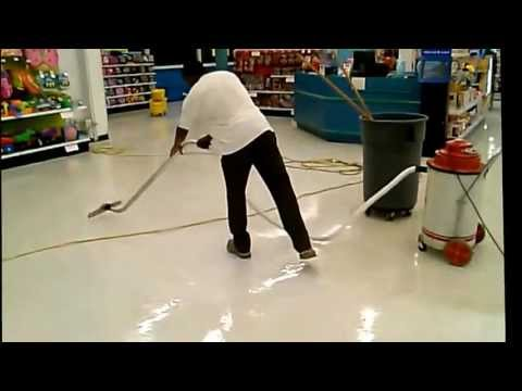 Stripping & Waxing Vinyl Tile Floors Using a Stripping Brush