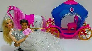 زفاف باربي وكين  عربه باربي  بالحصان تمشي حقيقي