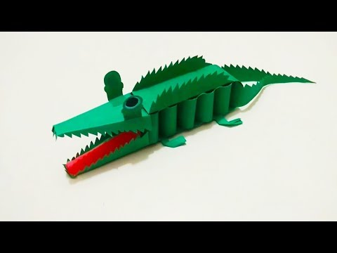 Kids Art and Craft: How to make 3D paper crocodile  Paper Craft.