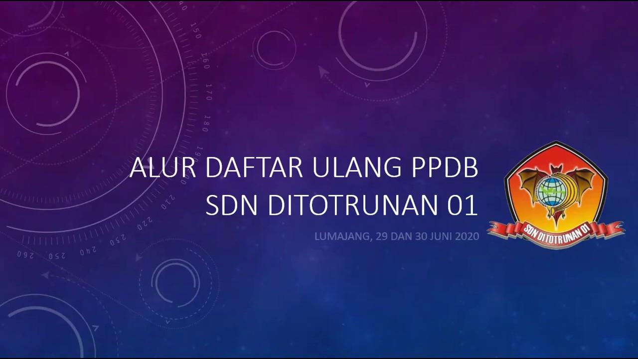 ALUR DAFTAR ULANG SDN DITOTRUNAN 01 LUMAJANG TAHUN PELAJARAN 2020/2021