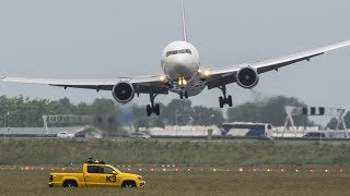 Spectacular CROSSWIND LANDINGS during a STORM at Amsterdam - BOEING 747, B767, Airbus A340 ... (4k)
