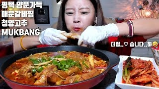 [ENG]평택 양푼가득 매운갈비찜 청양고추 먹방 mukbang Spicy Galbi-jjim 辛味カルビの蒸し物