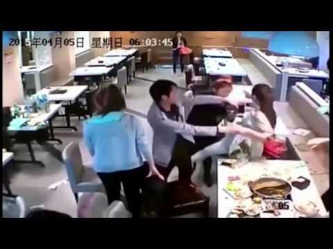 LiveLeak - Girls throw hot pots to fight at restaurant