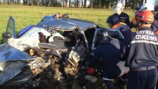 Спасатели извлекают пострадавшего из покореженного авто