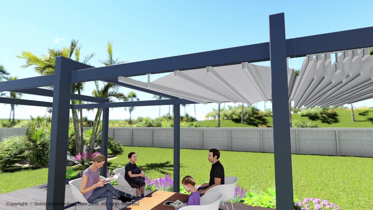 Retractable canopy for pergola - Forli Model Retractable Awning Patio And Deck Pergola Cover System Residential Video