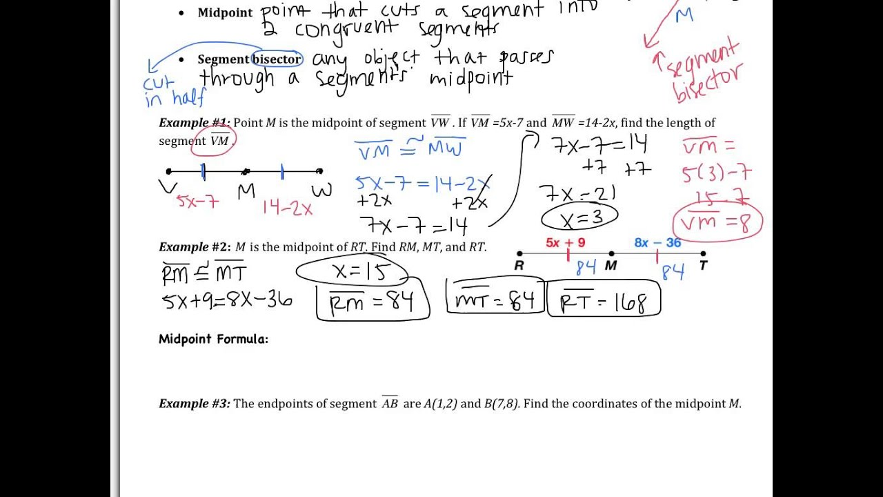 1 3 Use Midpoint And Distance Formulas