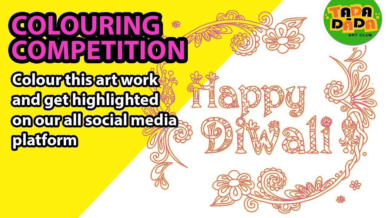 How To Draw And Paint Coloring Competition Diwali 2017 Tada Dada Art Club