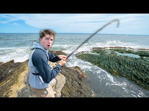 FISHING ON SKETCHY ROCKS FOR VICIOUS STRIPED BASS! (Exploring Saltwater Tide Pools)