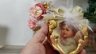 Shabby Chic Christmas ornament & Display case
